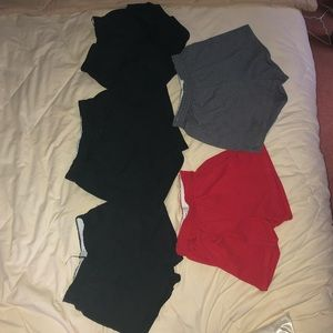 Set of five soffe shorts